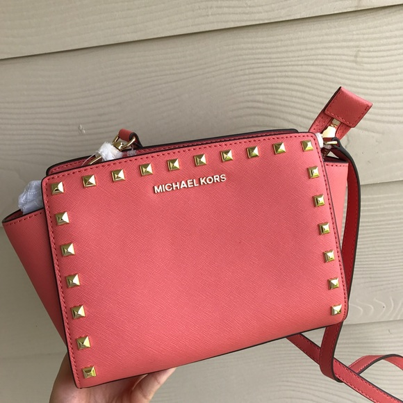 5e44d9f307b5 MK Stud MD Selma leather Crossbody bag watermelon. NWT. Michael Kors